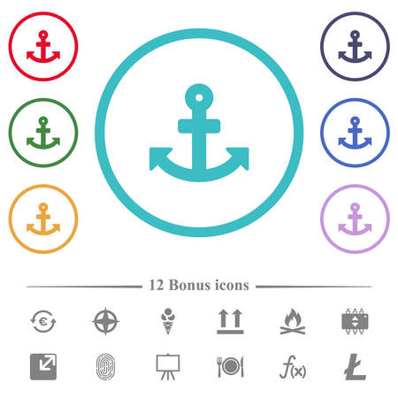 Anchor flat color icons in circle shape outlines. 12 bonus icons included.