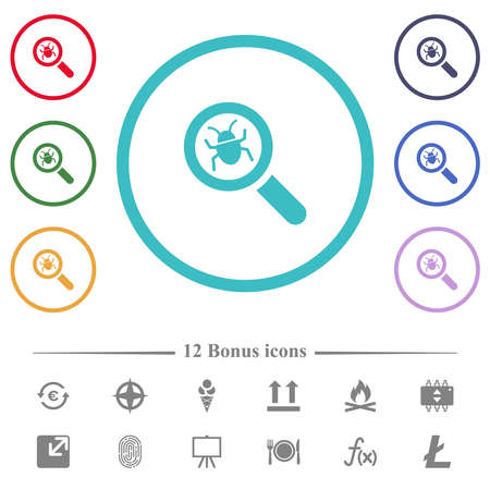 Bug tracking flat color icons in circle shape outlines. 12 bonus icons included.