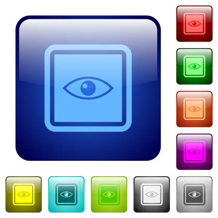 Invert object icons in rounded square color glossy button set 矢量图像