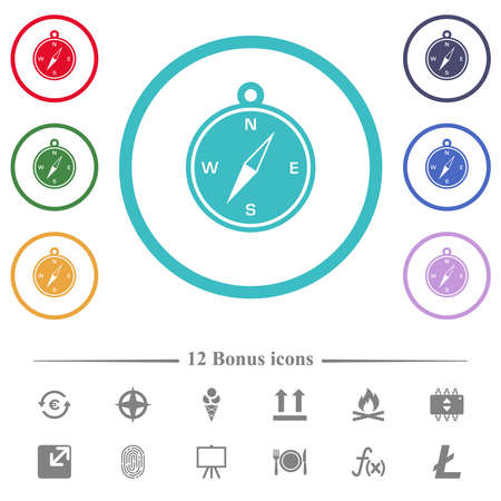 Compass flat color icons in circle shape outlines. 12 bonus icons included.
