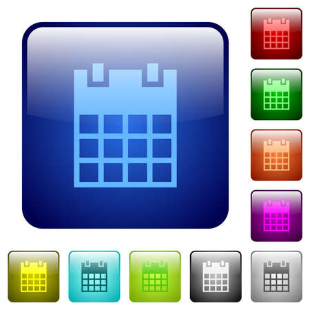 Single calendar icons in rounded square color glossy button set 矢量图像