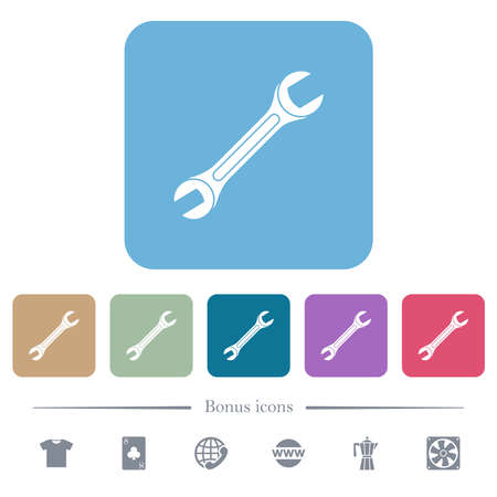 Single wrench white flat icons on color rounded square backgrounds. 6 bonus icons included