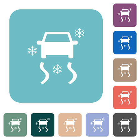 Snowy road dashboard indicator white flat icons on color rounded square backgrounds Иллюстрация