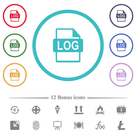 LOG file format flat color icons in circle shape outlines. 12 bonus icons included. 矢量图像