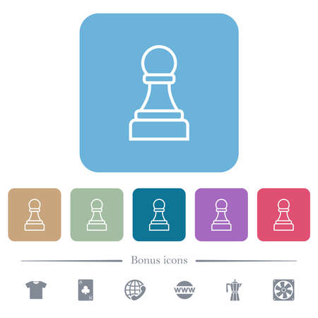 White chess pawn white flat icons on color rounded square backgrounds. 6 bonus icons included