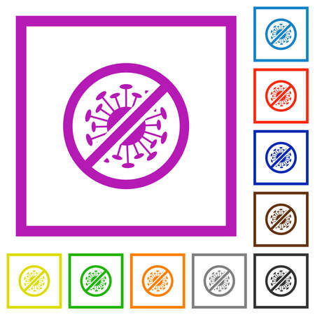 No covid flat color icons in square frames on white background 矢量图像
