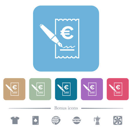 Signing Euro check white flat icons on color rounded square backgrounds. 6 bonus icons included 矢量图像