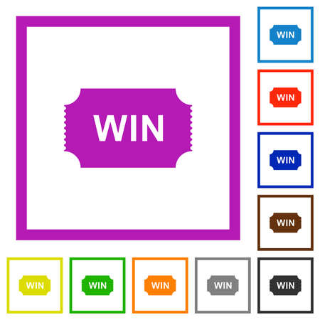 Winner ticket flat color icons in square frames on white background