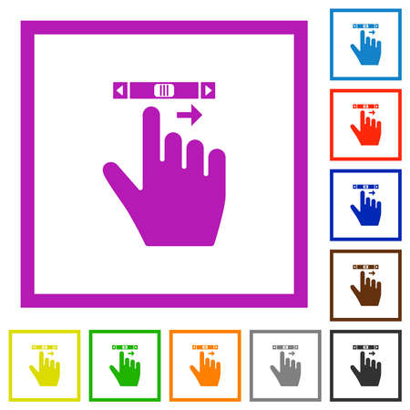 right handed scroll right gesture flat color icons in square frames on white background