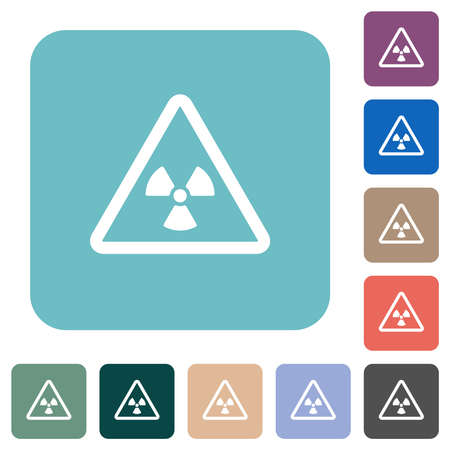 Nuclear warning white flat icons on color rounded square backgrounds