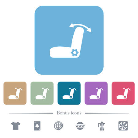 Car seat adjustment white flat icons on color rounded square backgrounds. 6 bonus icons included 矢量图像