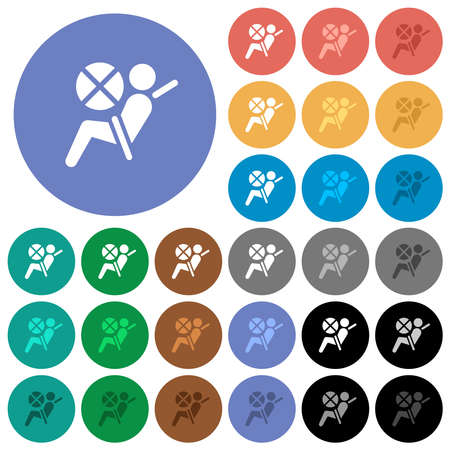 Disabled air bag dashboard indicator multi colored flat icons on round backgrounds. Includes white, light and dark icon variations for hover and active status effects, and bonus shades.