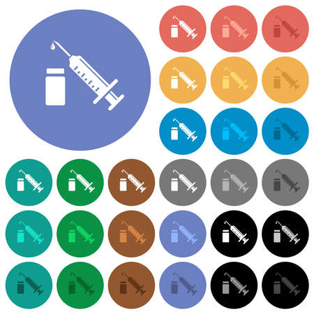 Syringe with ampoule multi colored flat icons on round backgrounds. Includes white, light and dark icon variations for hover and active status effects, and bonus shades.