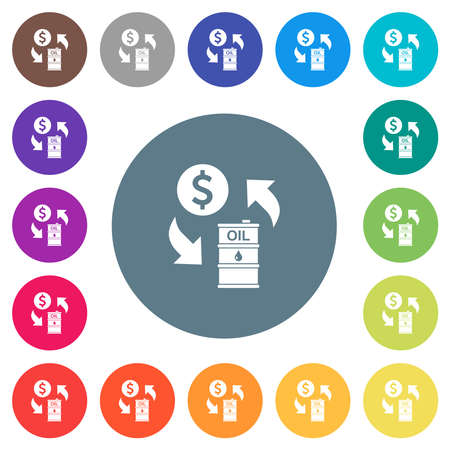 Dollar oil exchange flat white icons on round color backgrounds. 17 background color variations are included.