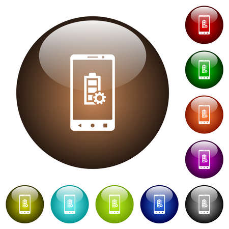 Mobile battery settings white icons on round glass buttons in multiple colors 矢量图像