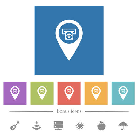 Bank ATM GPS map location flat white icons in square backgrounds. 6 bonus icons included.