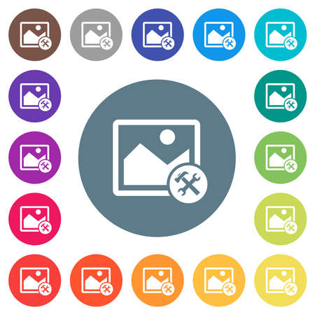 Image tools flat white icons on round color backgrounds. 17 background color variations are included.