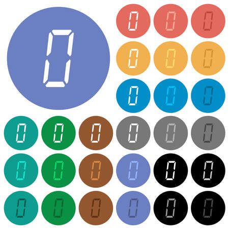 digital number zero of seven segment type multi colored flat icons on round backgrounds. Includes white, light and dark icon variations for hover and active status effects, and bonus shades.