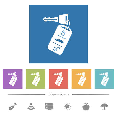 Car key with remote control flat white icons in square backgrounds. 6 bonus icons included.