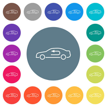 Car airflow adjustment internal flat white icons on round color backgrounds. 17 background color variations are included. 矢量图像