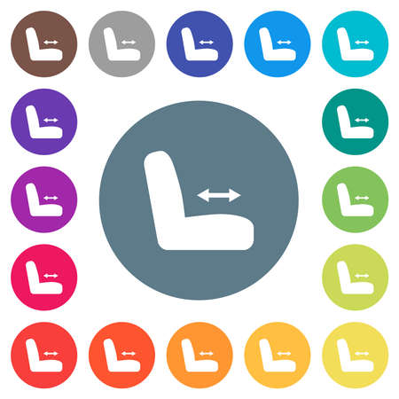 Car seat adjustment flat white icons on round color backgrounds. 17 background color variations are included.
