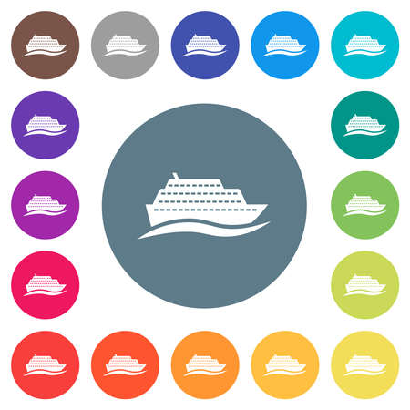 Cruise ship with wave flat white icons on round color backgrounds. 17 background color variations are included.