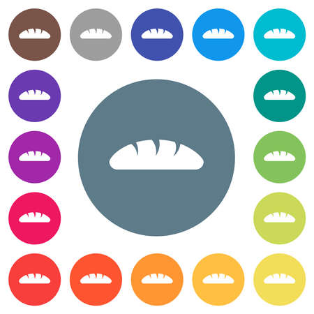 Bread flat white icons on round color backgrounds. 17 background color variations are included.