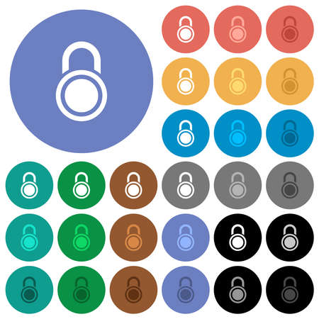 Locked round padlock multi colored flat icons on round backgrounds. Includes white, light and dark icon variations for hover and active status effects, and bonus shades. 矢量图像