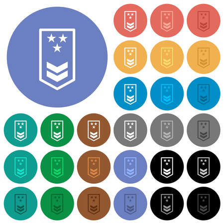 Military insignia with two chevrons and three stars multi colored flat icons on round backgrounds. Includes white, light and dark icon variations for hover and active status effects, and bonus shades.