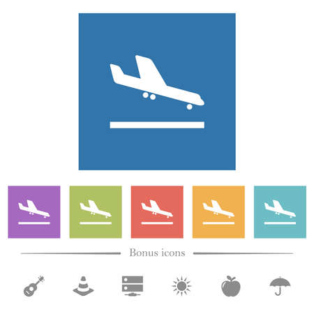 Airplane landing flat white icons in square backgrounds. 6 bonus icons included.