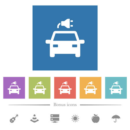 Electric car with connector flat white icons in square backgrounds. 6 bonus icons included.