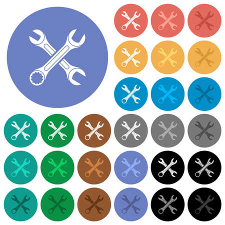 Two wrenches multi colored flat icons on round backgrounds. Includes white, light and dark icon variations for hover and active status effects, and bonus shades.