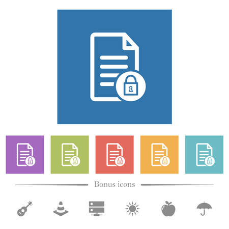 Locked document flat white icons in square backgrounds. 6 bonus icons included.