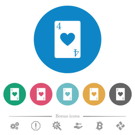 Four of hearts card flat white icons on round color backgrounds. 6 bonus icons included. 矢量图像