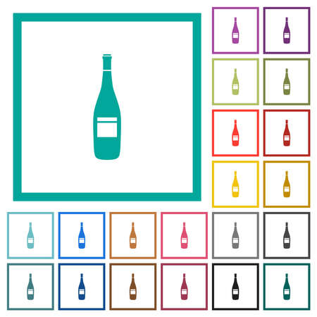 Wine bottle with label flat color icons with quadrant frames on white background