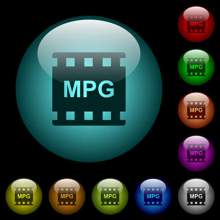MPG movie format icons in color illuminated spherical glass buttons on black background. Can be used to black or dark templates 矢量图像