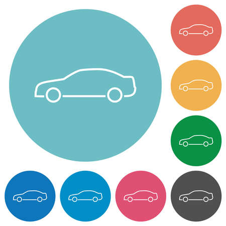 Car contour flat white icons on round color backgrounds