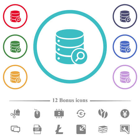 Database search flat color icons in circle shape outlines. 12 bonus icons included. 矢量图像