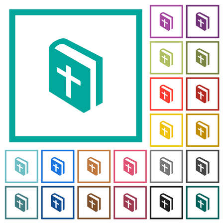 Holy bible flat color icons with quadrant frames on white background