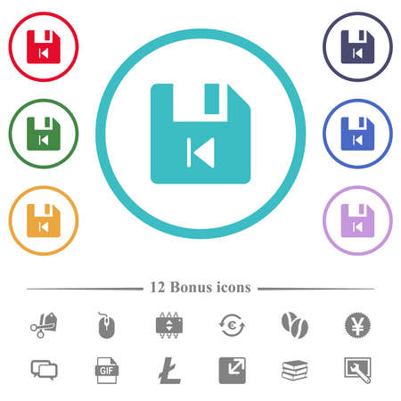 File previous flat color icons in circle shape outlines. 12 bonus icons included.