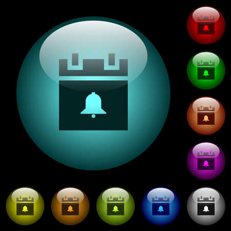 Schedule alarm icons in color illuminated spherical glass buttons on black background. Can be used to black or dark templates 矢量图像