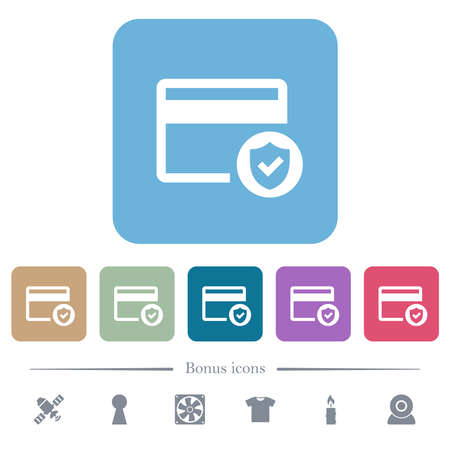 Safe credit card transaction white flat icons on color rounded square backgrounds. 6 bonus icons included