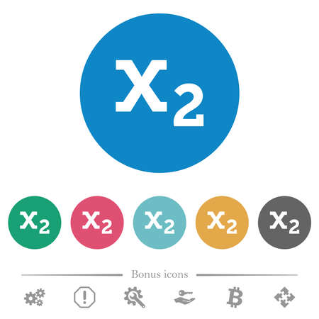 Subscript flat white icons on round color backgrounds. 6 bonus icons included. 矢量图像