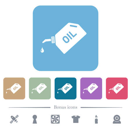 Oiler with oil drop white flat icons on color rounded square backgrounds. 6 bonus icons included
