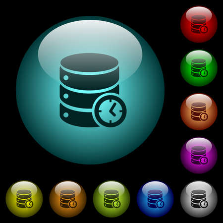 Database of timed events icons in color illuminated spherical glass buttons on black background. Can be used to black or dark templates