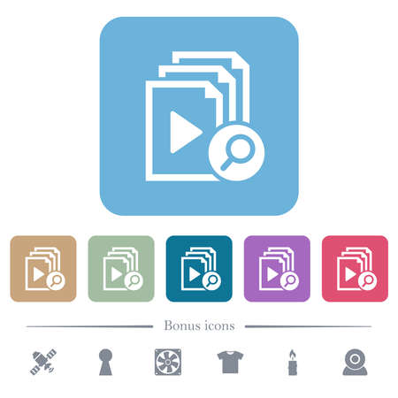Find playlist item white flat icons on color rounded square backgrounds. 6 bonus icons included