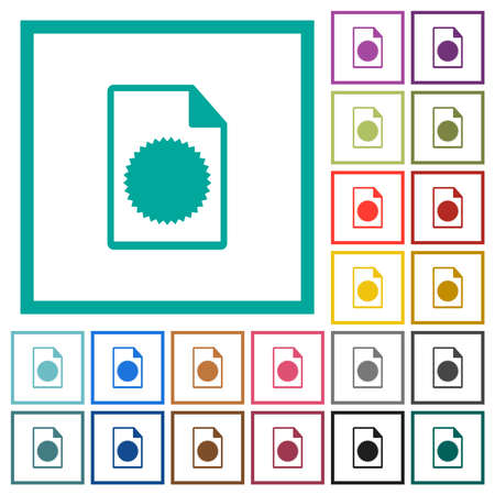 Certificate file flat color icons with quadrant frames on white background 矢量图像