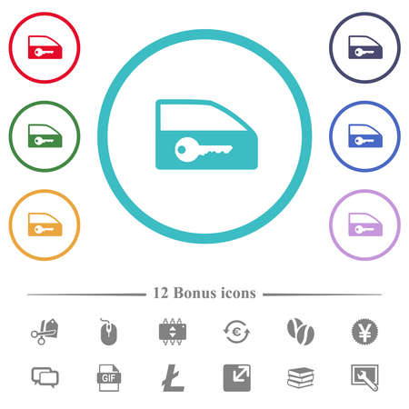 Car door lock flat color icons in circle shape outlines. 12 bonus icons included.