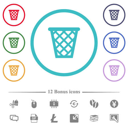 Trash flat color icons in circle shape outlines. 12 bonus icons included.