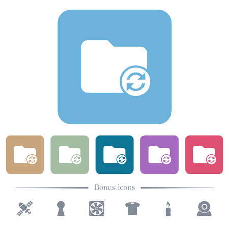 Refresh directory white flat icons on color rounded square backgrounds. 6 bonus icons included 矢量图像